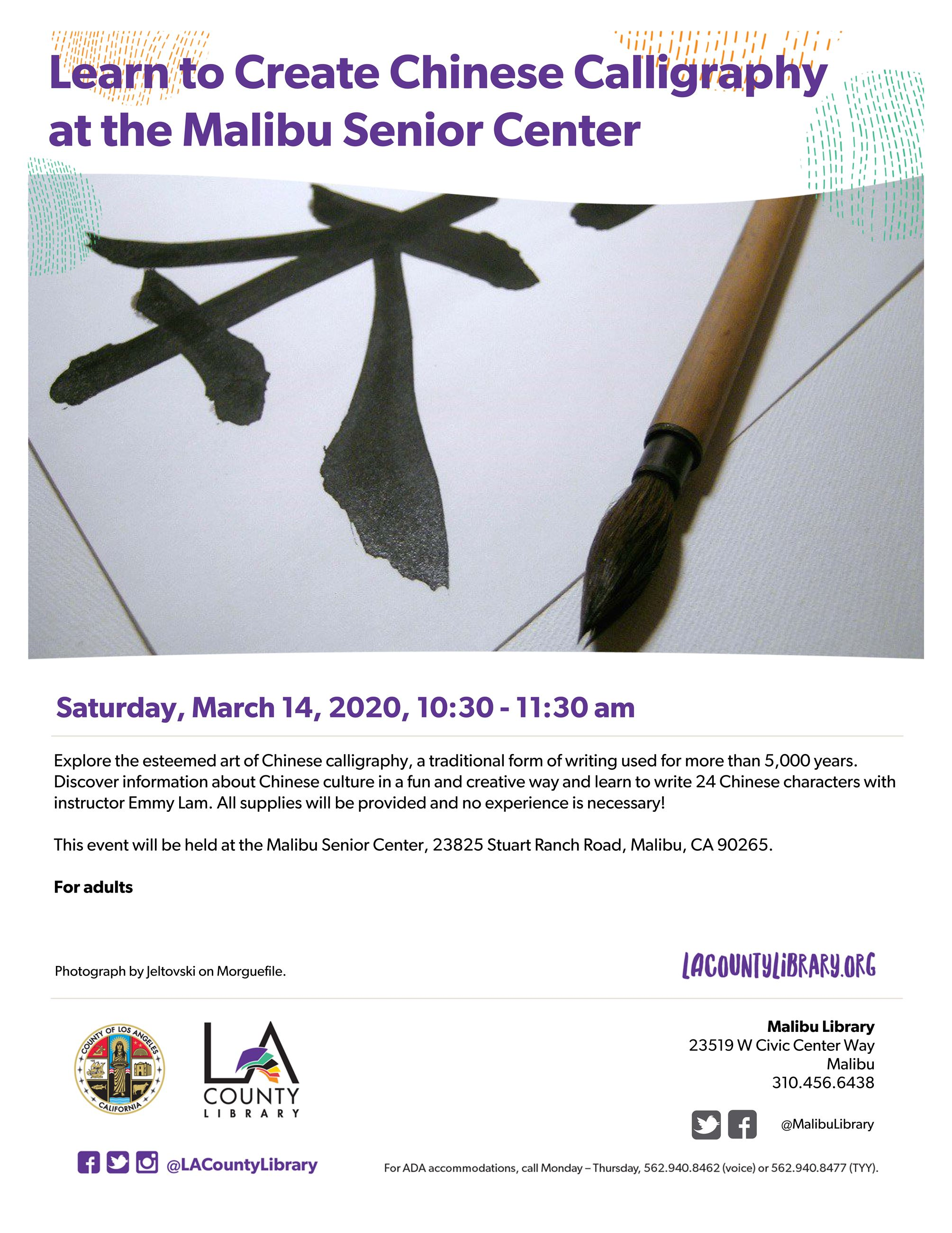 Chinese Calligraphy Class at the Library