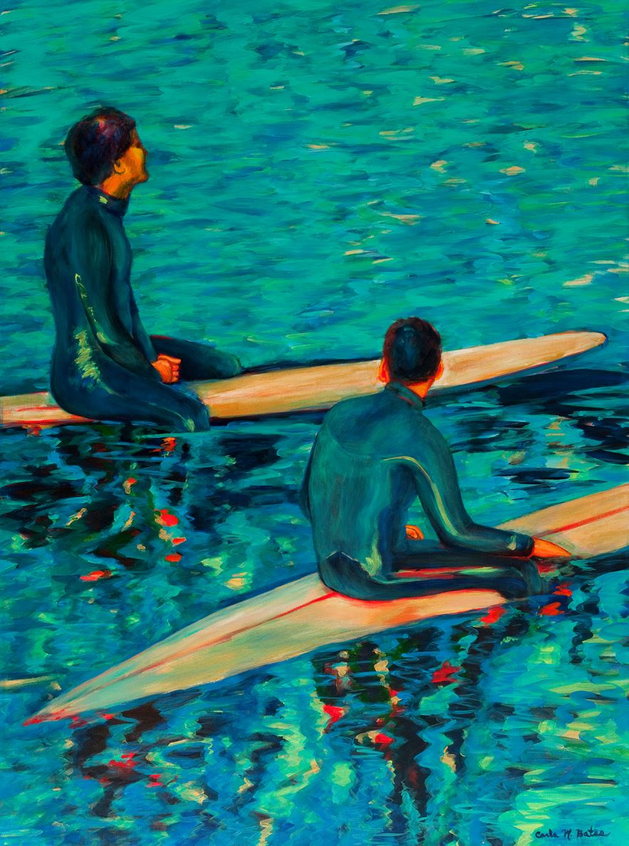 Artist Carla Bates artwork, surfers in water
